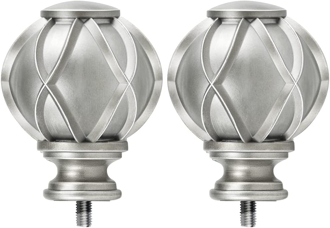 HOTOZON Antique Silver Replacement Finials for 3/4 & 5/8 Inch Diameter Curtain Rods, Decorative Drapery Rod Finials, Set of 2
