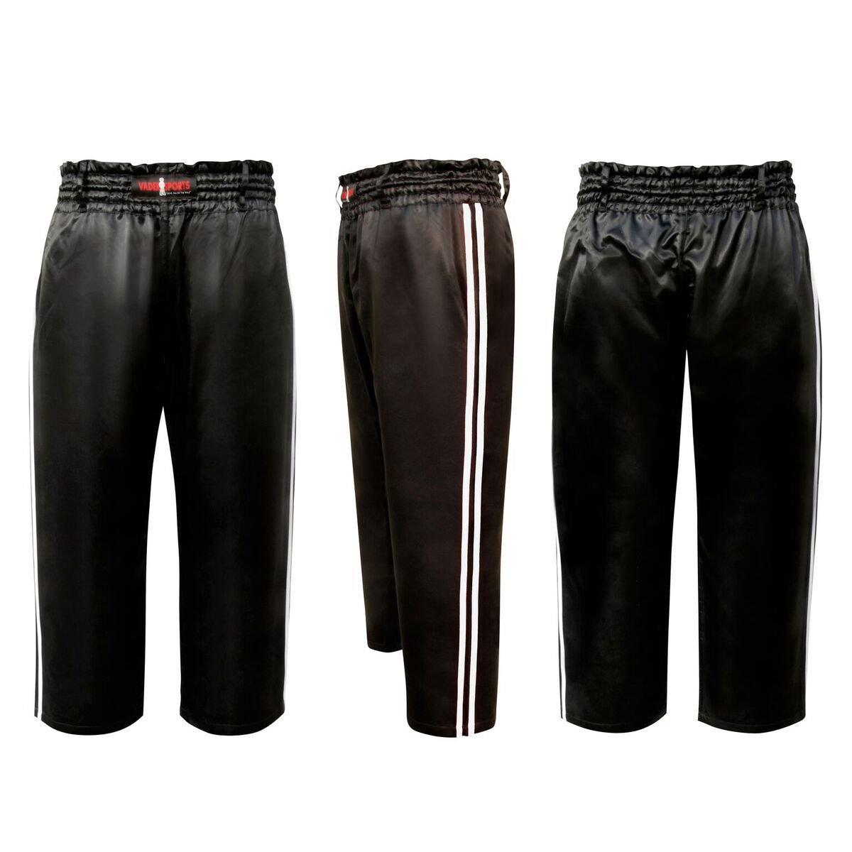 Vader Sports Pantalones de Deporte Kickboxing Negros con Dos ...
