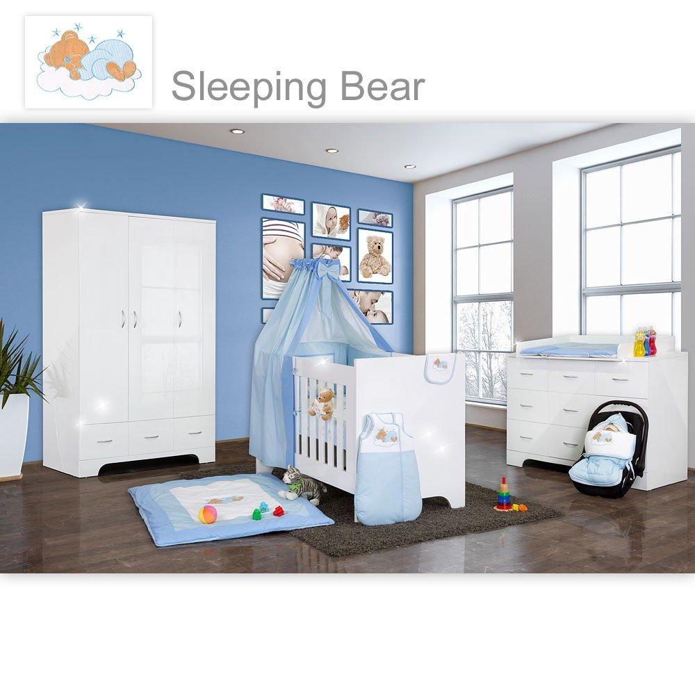 Hochglanz Babyzimmer 12-tlg. mit Sleeping Bear in Blau