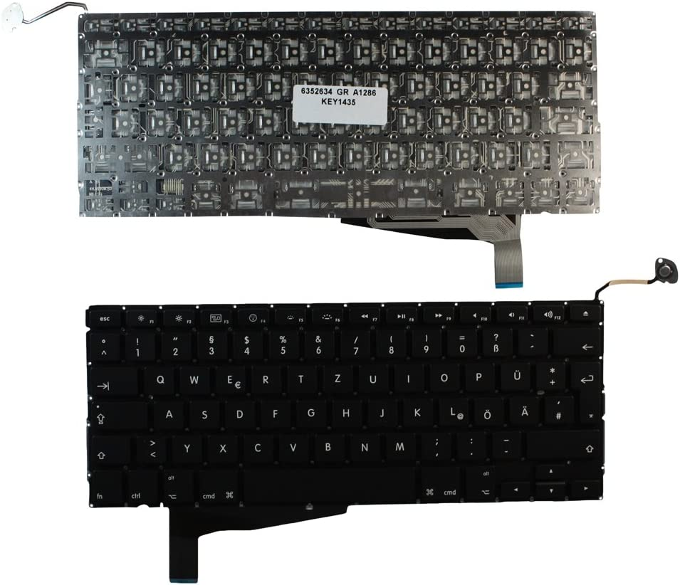 Without Backlit Board Black Laptop Keyboard Compatible with Apple MacBook Pro A1286 Unibody Keyboards4Laptops German Layout Backlit Version EMC 2255