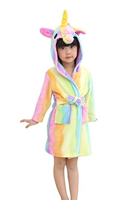 Mystery&Melody Unicorn Bathrobe Kids Robe Beach Pool Cover Hooded Pajamas Costume (Rainbow, 110(100-110cm))
