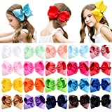 DEEKA 20 PCS 8'' Hand-made Boutique Bow Clips Grosgrain Ribbon Alligator Clips for Girls