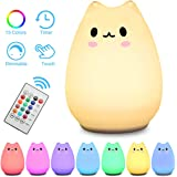 Children Night Light Elfeland Remote Control Cute Kitty LED Portable Silicone Cat Lamp 12+1 Colors / Adjustable Brightness / Timing off / USB Rechargeable for Baby Kids Toy Gift