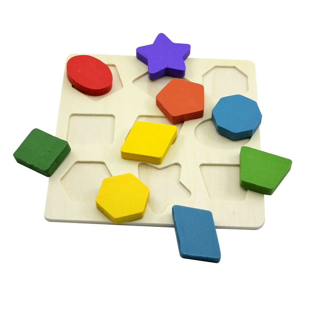 Gogogo 3D Wooden Jigsaw Puzzle Shape Pattern Color Cognitive and Matching Toy for Toddler Baby Kids Toy