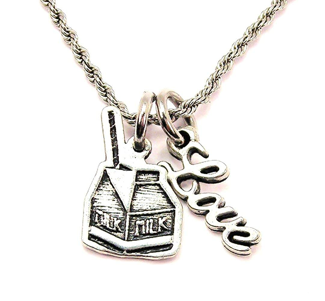 ChubbyChicoCharms Little Milk Carton Stainless Steel Rope Chain Cursive Love Necklace