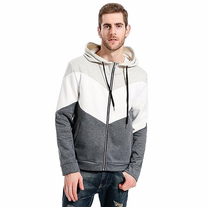 Yanhoo Suéter Manga Larga con Capucha Colorblock con Capucha Hombre Hombres Otoño Patchwork Slim Sweater Camisa