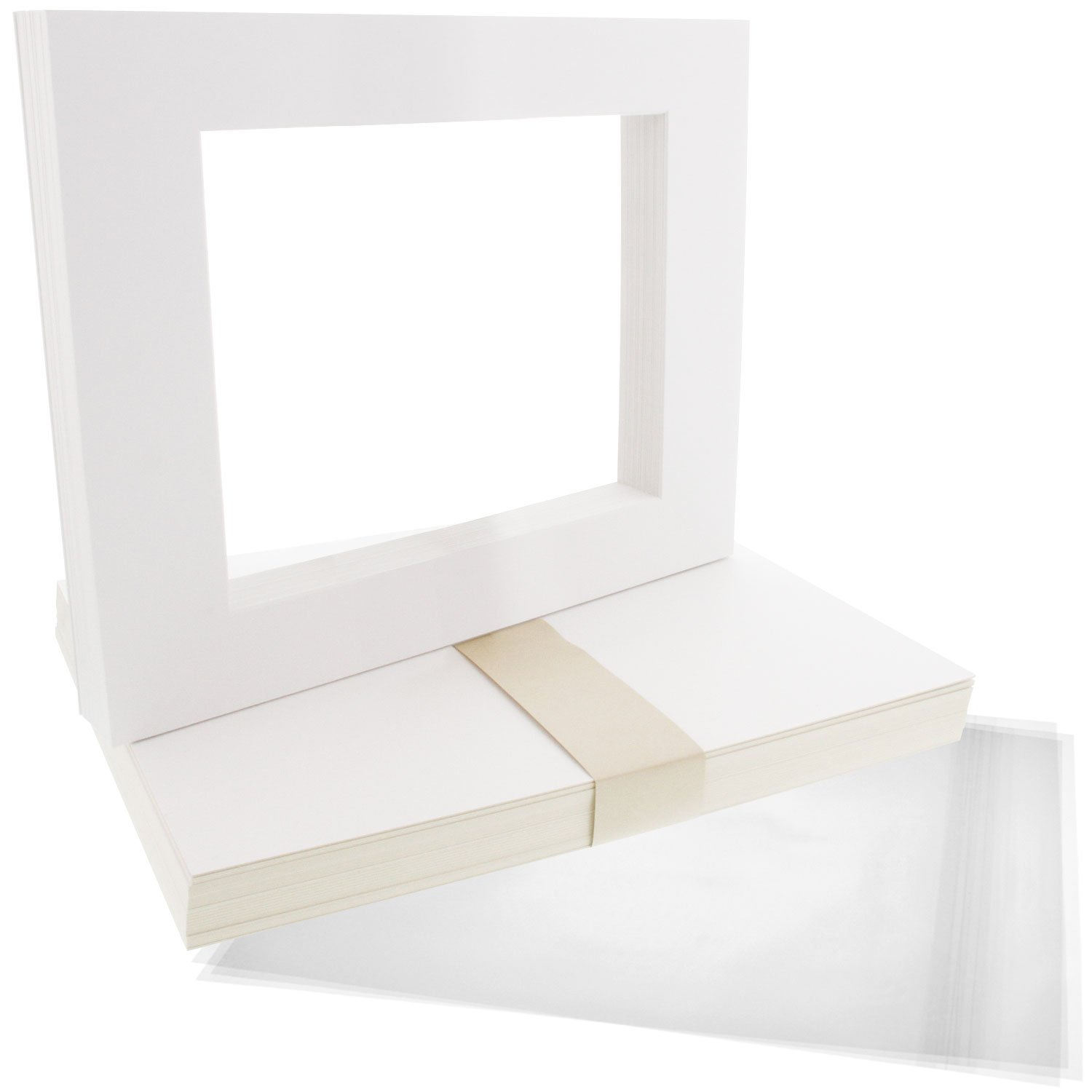 US Art Supply Art Mats Acid-Free Pre-Cut 8x10 White Picture Mat Matte Sets. Includes a Pack of 25 White Core Bevel Cut Mattes for 5x7 Photos, Pack of 25 Backers & 25 Clear Sleeve Bags USA W08X10-MATSET-25