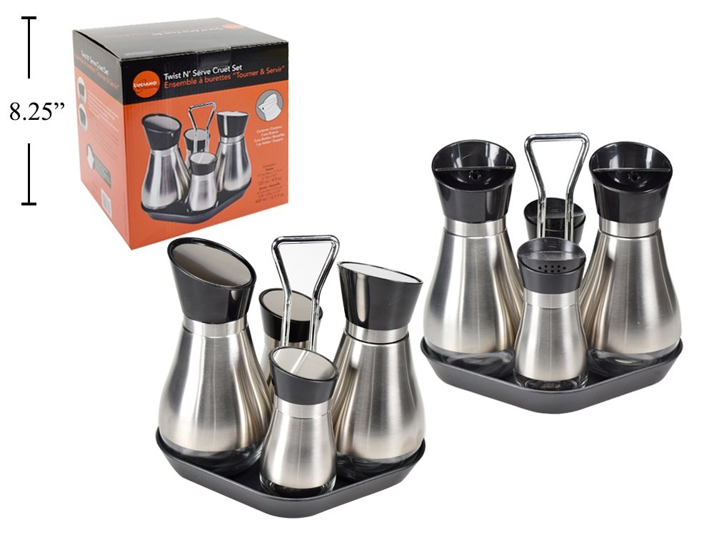 Luciano Gourmet Twist 'N' Serve 4-Piece Stainless Steel Oil Vinegar Dispensers Salt Pepper Shakers Cruet Set with Tray (Black)
