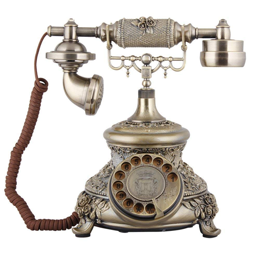 MUTANG Bronze Retro Vintage Antique Style Rotary Dial Button Mechanical Double Ringtone Telephone Phone Home Office Telephone Set MIMAN
