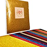 (US) AIM HOBBIES Heat Transfer Glitter Vinyl Starter Bundle 12 x 10 - 15 Pack of Assorted Colors