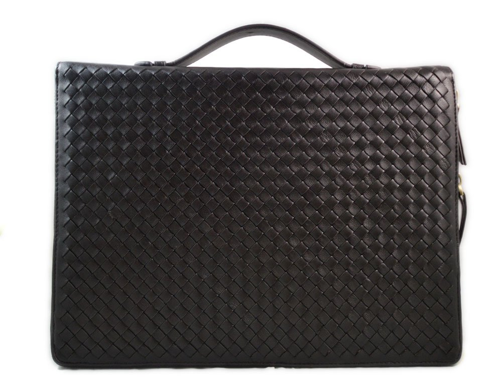 Brown leather folder A4 document file folder A4 braided weaved leather zipped folder bag made in Italy office folder document folder