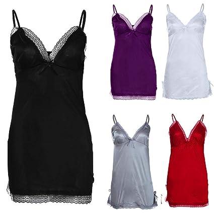d41ac04190339 Nacome Cami Sleepwear Women,Lingerie V Neck Nightwear Satin Sleepwear Lace  Chemise Mini Teddy Small Black: Amazon.in: Home & Kitchen