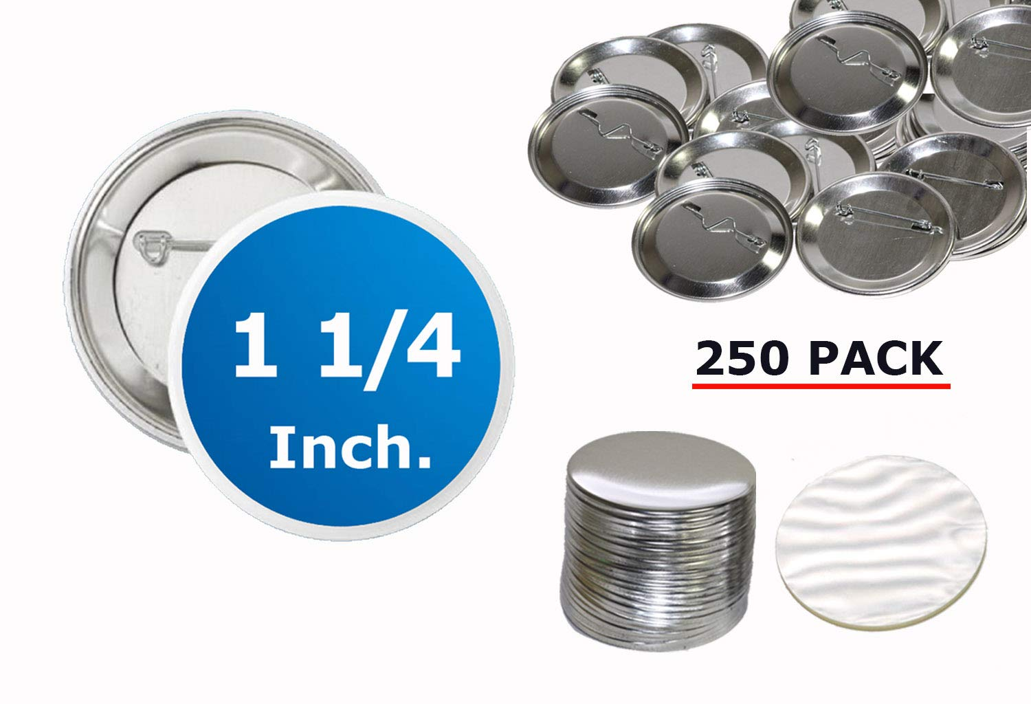 1.25 inch (1 1/4'') Diameter Back Pin Metal Buttons - 250 Pack for Button Maker Machines - 32 mm by Upick Deals