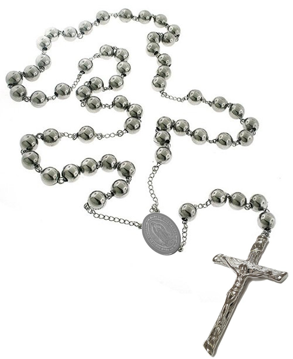 Unique Virgen de Guadalupe Catholic Rosary Stainless Steel Beads 24'' Necklace with Crucifix and Medal(24 Inches)