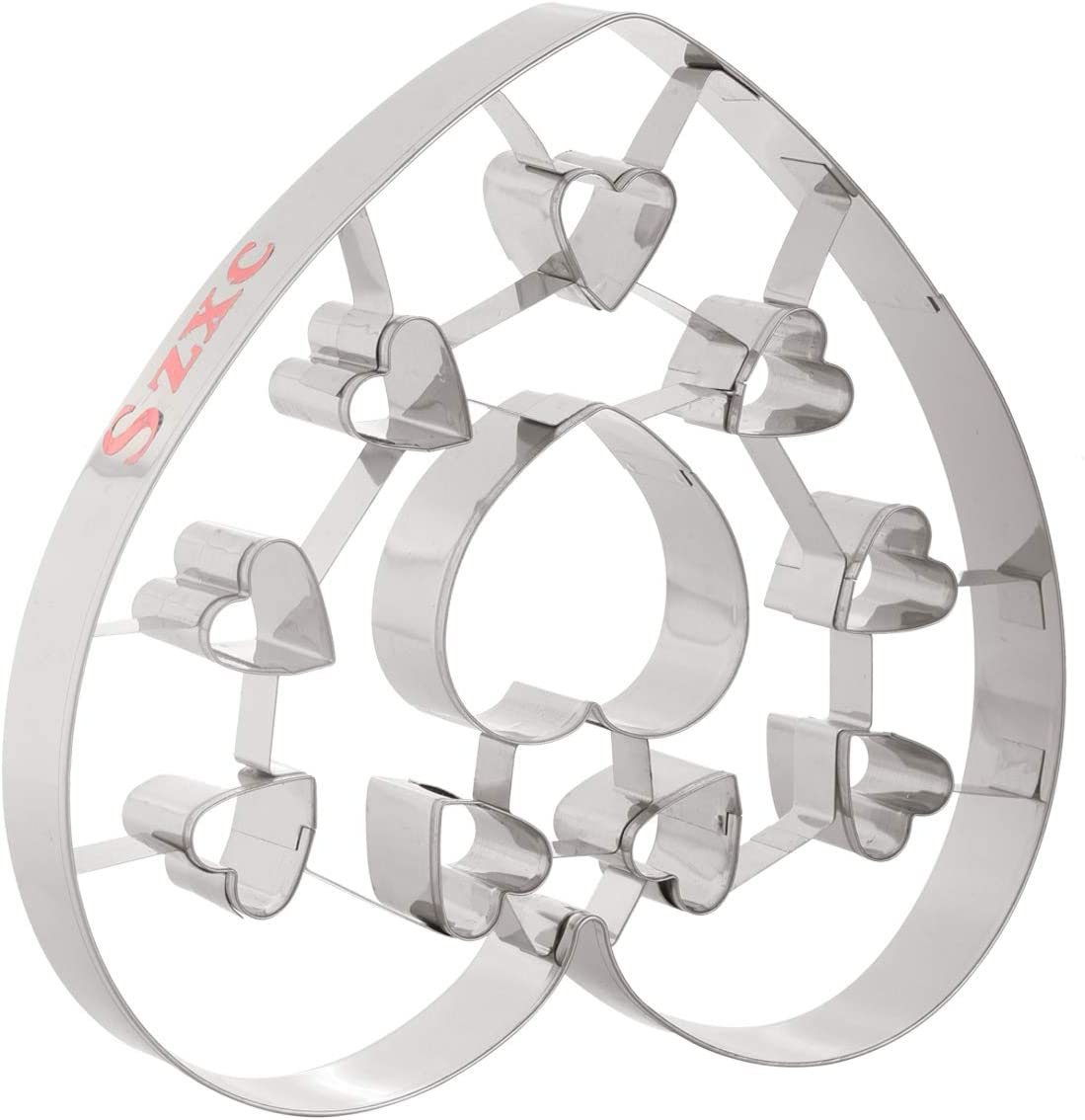 Szxc Large Heart Cookie Cutters - Stainless Steel - BPA Free - Dishwasher Safe - 7 x 7-1/2 Inch