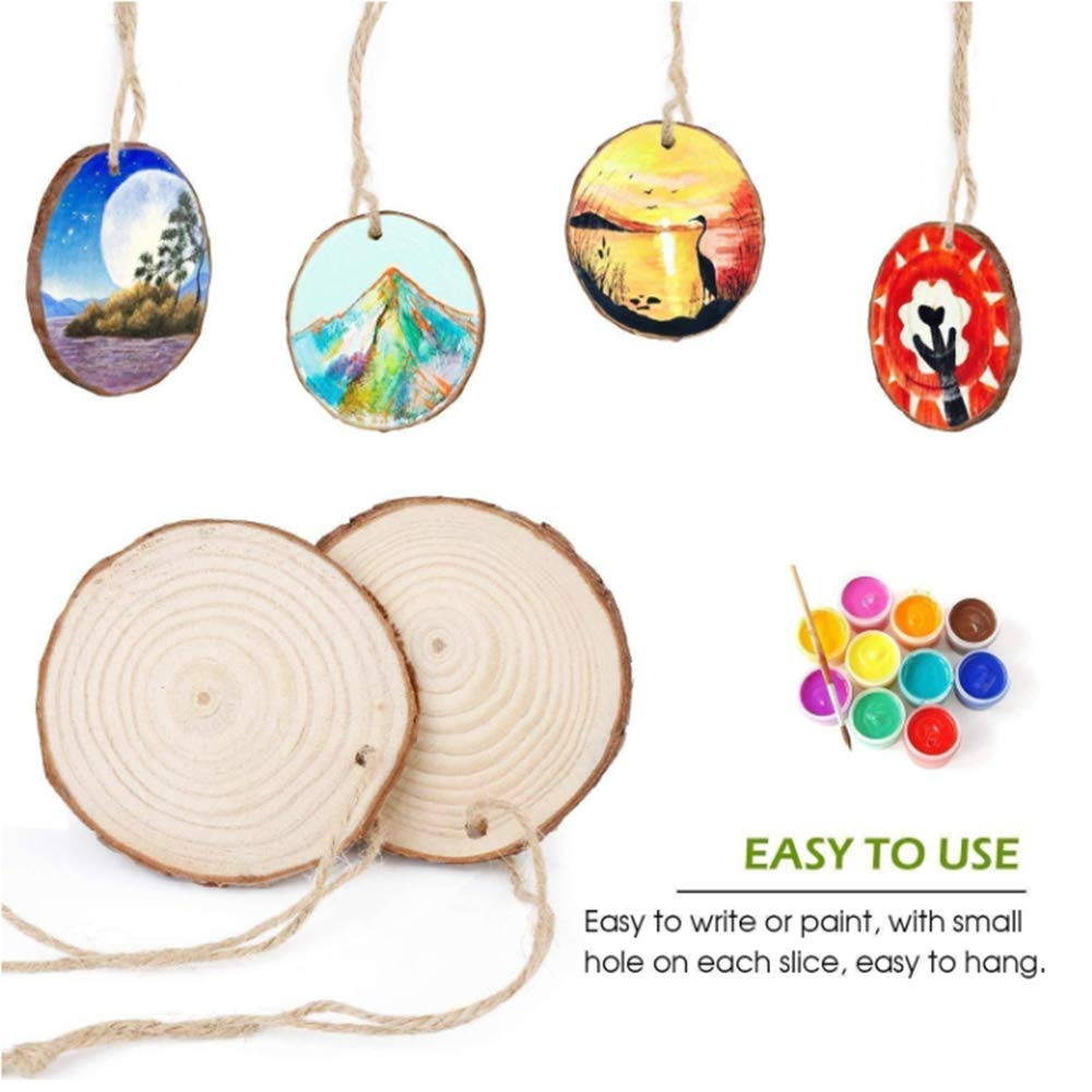 iBayx Wood Slices, Natural Wood Circles with Hole, 2.4\