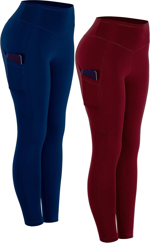 Cadums Womens High Waist Tummy Control Workout Leggings with Pockets