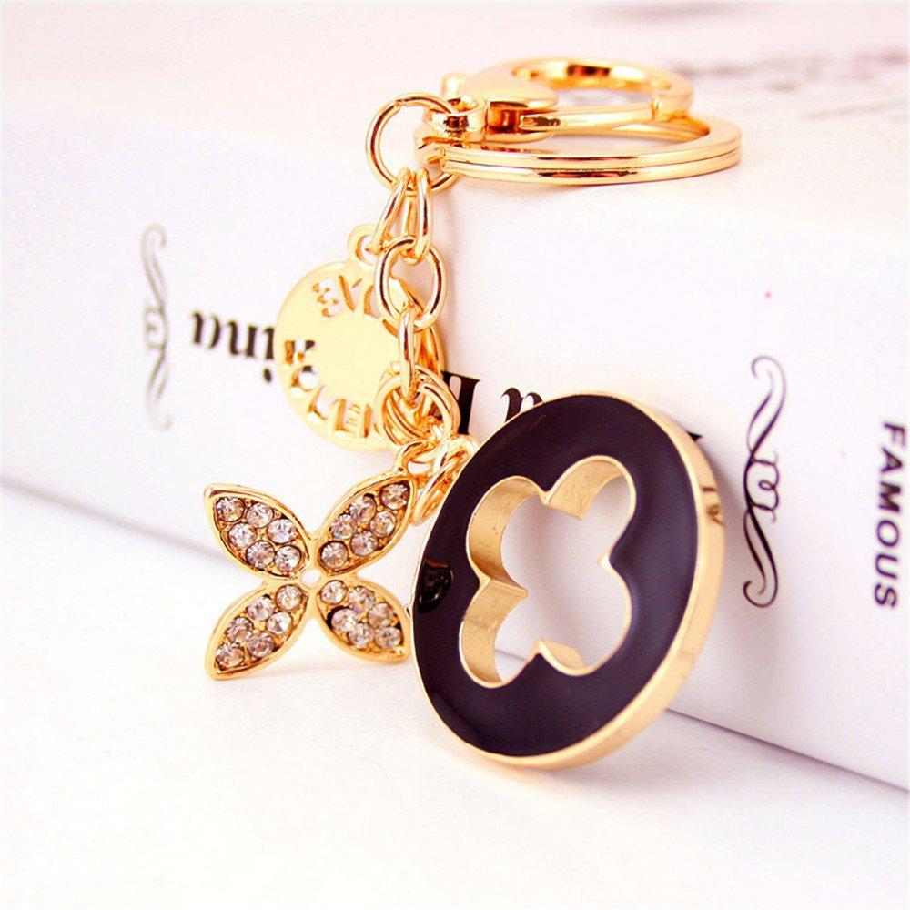 Charms Four Leaf Clover Keychain Gold Plated Crystal Elements Women Car Keychain Handbag Decoration (Black) Bestdays