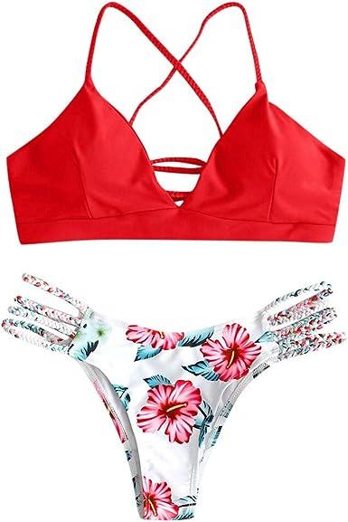 riou Bikini Conjuntos de Bikinis para Mujer Push Up Mujeres Traje de BañO Estampado Bohemio Dividido BañAdores con Relleno Tops y Braguitas Mujer 2020 brasileños vikinis: Amazon.es: Ropa y accesorios