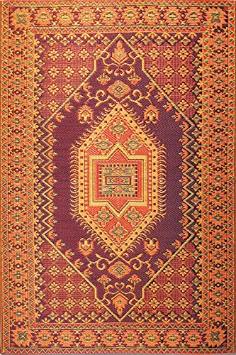 Mad Mats® Oriental Turkish Indoor/Outdoor Floor Mat, 4 by 6-Feet, Rust (Rugs Recycled Plastic)