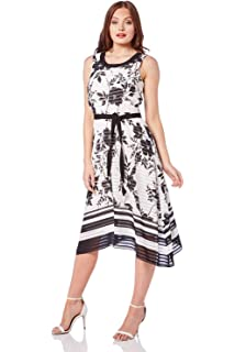 02761a082e Roman Originals Womens Stripe Floral Chiffon Midi Dress - Ladies Midi  Skater Cocktail Summer Party Going Out Smart…