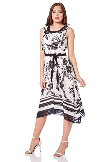 effbb88a02 Roman Originals Womens Stripe Floral Chiffon Midi Dress - Ladies Midi  Skater Cocktail Summer Party Going