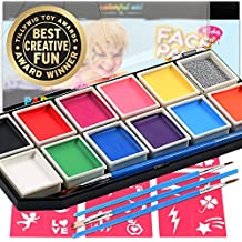 Award Winning Face Paint   Professional 12 Color Mega Palette Face Painting Kits for Kids   Best Cosplay Paint Kit   3 Brushes Glitter 30 Stencils Sturdy Case   Fda Approved Non Toxic   Online Guide