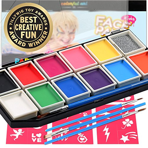 Award Winning Face Paint Kit For Kids | Professional 12 Color Mega Palette | Best Body Face Painting Kits | 3 Brushes, Glitter, 30 Stencils, Durable Case | Fda Compliant Non Toxic | Bonus Online Guide (Face Painting Designs Halloween)
