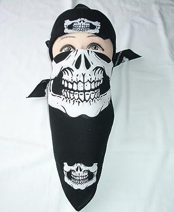 8d2271addbf Amazon.com: 12 Skull Jaw Bone Bandana Biker Winter Sport Headband ...