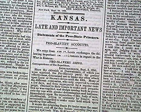 Bleeding Kansas War Missouri Border Ruffians Free-staters Slavery 1856 Newspaper Antiques