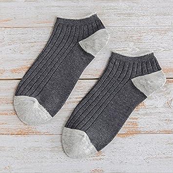 Liuxc Calcetines Calcetines de barco para hombre calcetines adultos rayas verticales de color puro agujas dobles
