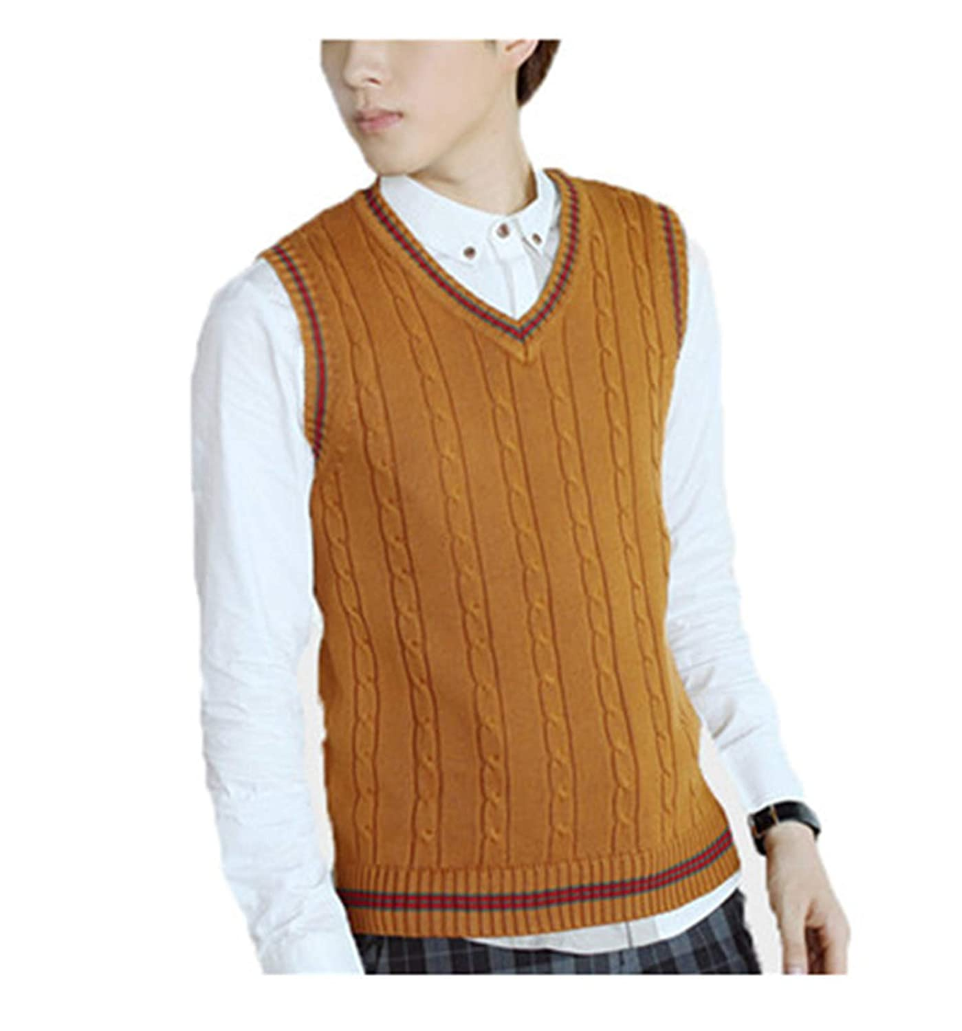 Mens Autumn Winter New Classic V-Neck Sleeveless Sweater Vest Cotton Knitwear