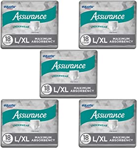 PACK OF 5 - Assurance for Men Maximum Absorbency Protective Underwear, Large/Extra Large, 18 ct