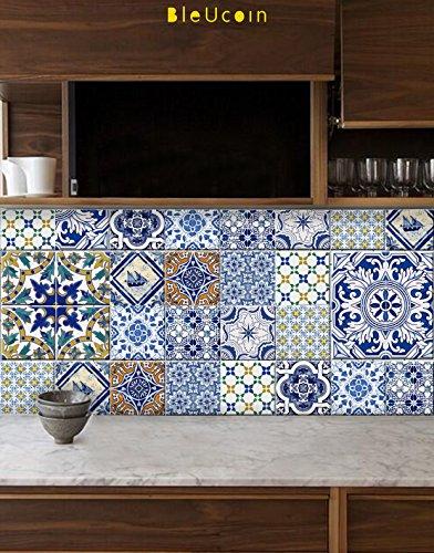 Portuguese Tile Stickers for Kitchen Bathroom Backsplash, Removable Stair Riser Decal, 11 (Damask Traditional Prints Wallpaper)