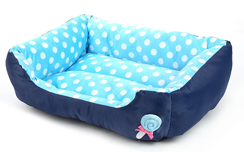 bluee S bluee S Pet Nest,Thick Soft Cotton Lint Lollipops Pet Nest Autumn Winter Warm Square Waterloo Dog Bed Cat Bed Mat 4 color & 3 Size (color   bluee, Size   S)