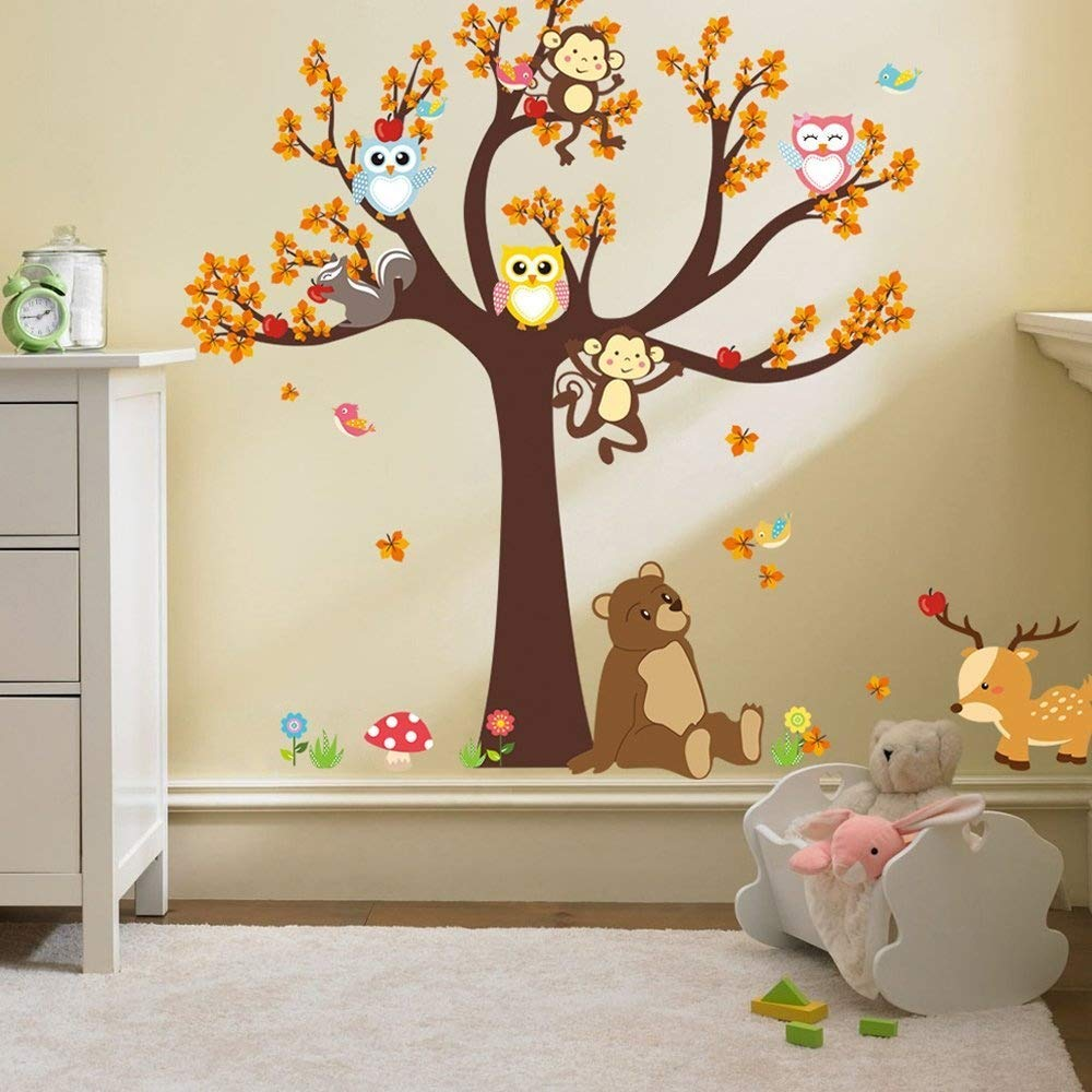 Ufengke® Cartoon Forest Animal Owl Monkey Bear Tree Wall Decals, Children's Room Nursery Removable Wall Stickers Murals Ufingo