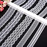 Lace Trimmings, POAO 5x11 Yards Lace Ribbon Pattern White Vintage Lace Fabric Cotton Lace Trim for Sewing Craft Wedding Christmas Party Decoration Scrapbooking Gift Box