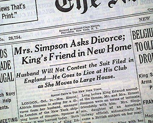 WALLIS SIMPSON Asks Ernest Aldrich for DIVORCE - King Edward VIII 1936 Newspaper