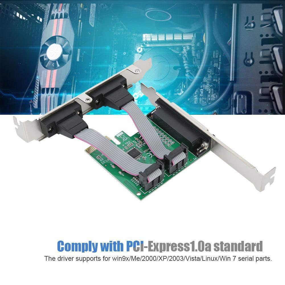 Wendry Tarjeta de expansión, PCI-E a 2 Puerto Serie 1 Adaptador de Puerto Paralelo Tarjeta Vertical, Plug-and-Play, para win9x/Me/2000/XP/2003/Vista/Linux/Win 7 Serial Parts: Amazon.es: Electrónica