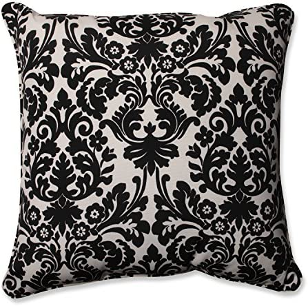 Pillow Perfect Outdoor Indoor Essence Onyx Floor Pillow, 25 x 25 , Black