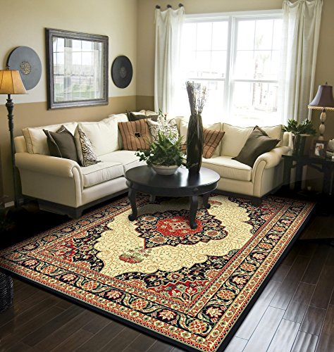 Traditional Area Rug Black Large Rugs For Living Room 8x10 Clearance Under 100