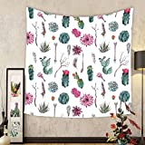Gzhihine Custom tapestry Cactus Decor Tapestry Vintage Botanical Pattern Arrows Feathers Succulent Twigs Hawaii Spring Tropic for Bedroom Living Room Dorm Multicolor