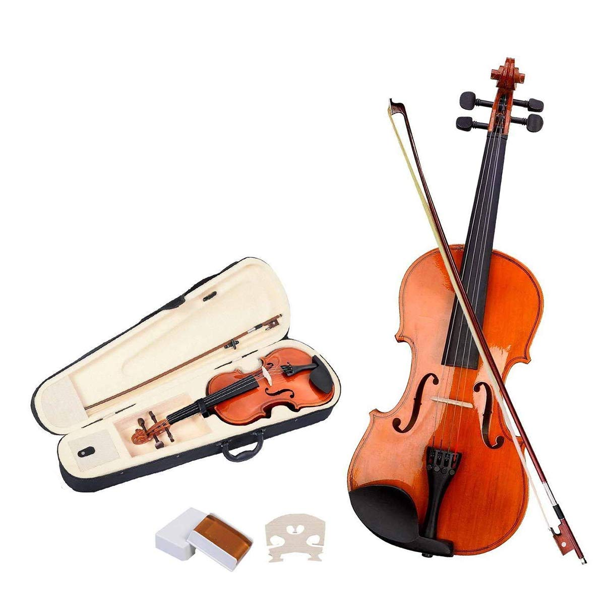 Goplus Acoustic Violin, 4/4 Full Size Solid Wood Fiddle w/Case, Bow, Rosin and Chin Rest for Beginners and Students (burlywood)