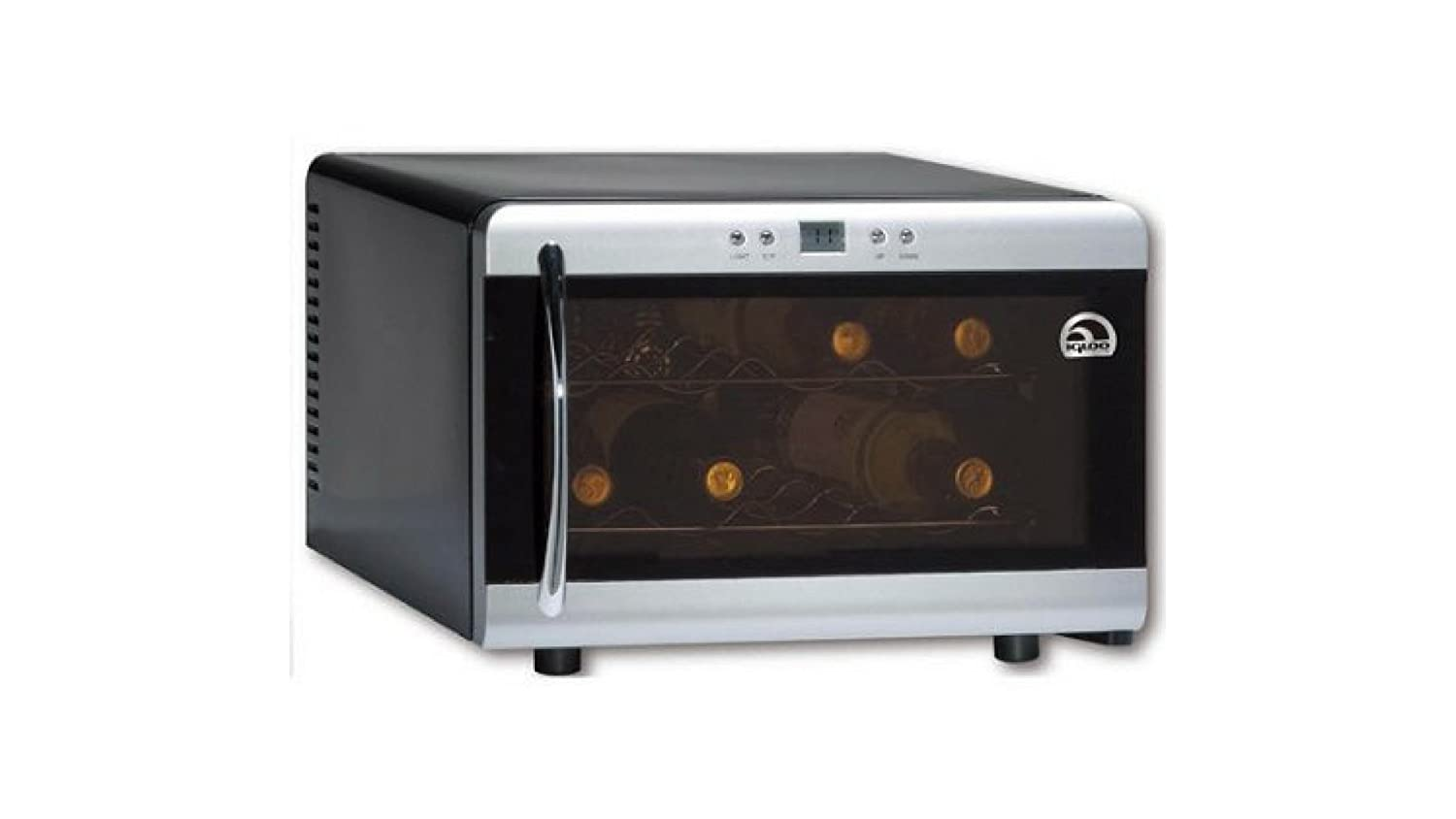 Counter-top Wine Cooler with Digital Temperature Controls 8 Bottle Capacity in Silver Igloo
