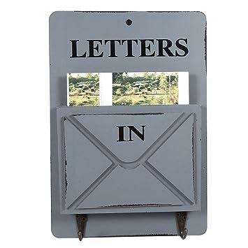 Aramox Boîte Aux Lettres En Bois Porte Courrier Mural Et