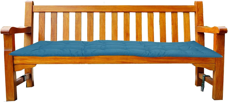 Coj/ín para banco azul turquesa 120 x 40 x 4 cm JEMIDI