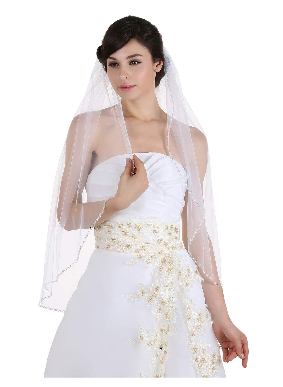 1T 1 Tier Crystals Pearls Beaded Wedding Veil (Fingertip Length 36'' Ivory) by SAMKY