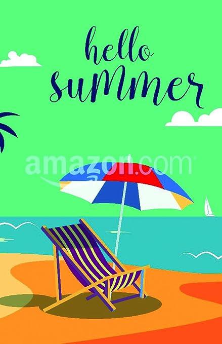 Playa Tropical Con Palmeras Y Paraguas. Vector Fondo Póster Impresión,