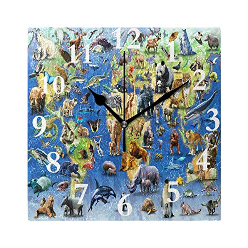 lightly Personalized Customization Childrens World Map and Animals Wall Clock for Home/Office/Kitchen/Bedroom/Living Room 7.87x7.87Inch
