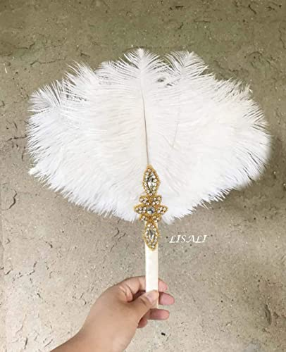Amazon Com Lisali 12 White Ostrich Feather Bouquet Feather Fan